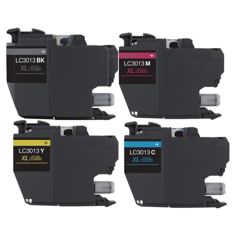 ReChargX® Brother LC3013 High Yield Black, Cyan, Magenta & Yellow Ink Cartridges