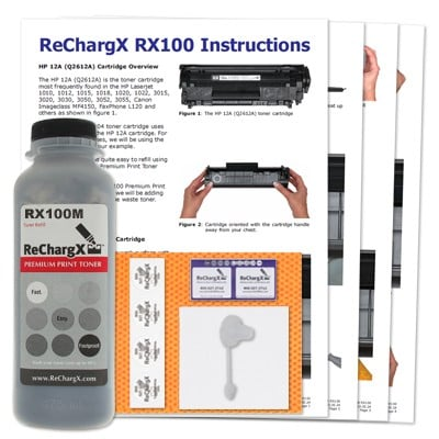 ReChargX® HP Q2612A (12A), Canon 104 MICR Toner Refill Kit