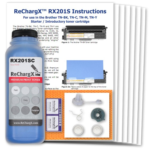 ReChargX Starter Cartridge Cyan Toner Refill Kit