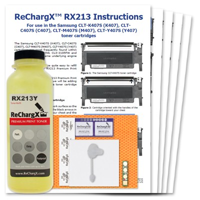 ReChargX® Samsung CLT-Y407S Yellow Toner Refill Kit