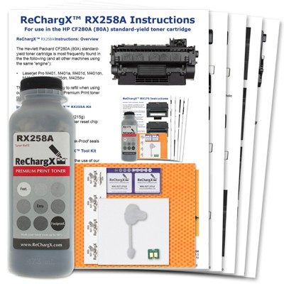 ReChargX® HP CF280A (80A) Standard-Yield Toner Refill Kit