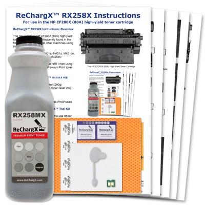 ReChargX® HP CF280A (80A), CF280X (80X) High-Yield MICR Toner Refill Kit