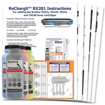 ReChargX B/C/M/Y Toner Refill Kits (4 Pack)
