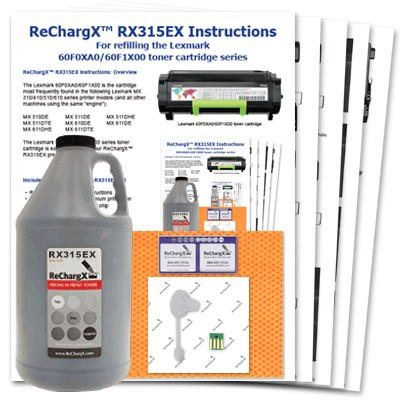 ReChargX® Lexmark 601X (60F0XA0/60F1X00) Extra High-Yield Toner Refill Kit