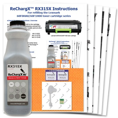ReChargX Lexmark 601H (60F0HA0/60F1H00) High-Yield Toner Refill Kit