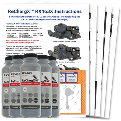 ReChargX® Brother TN760 High Yield 5 Pack Toner Refill Kit (TN760 Only)