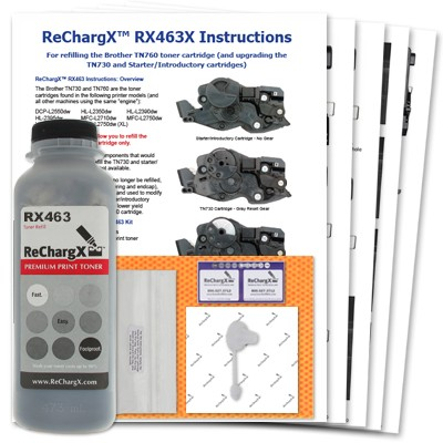 ReChargX® Brother TN760 High Yield Toner Refill Kit (TN760 Only)