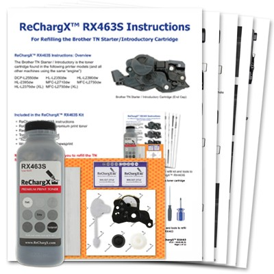 ReChargX® Brother TN730 & TN-Starter/Introductory Cartridge Toner Refill Kit