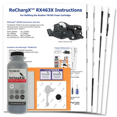 ReChargX® Brother TN760 High Yield Toner Refill Kit